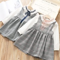 Wholesale Girls Cute Lace Collar Dresses - 2018 Spring new kids plaid outfits girls ruffle ribbon lace-up Bows collar long sleeve T-shirt+plaid suspender dress 2pcs sets R2215