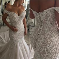 Wholesale sexy backless wedding dresses online - Plus Size Dubai Mermaid Wedding Dresses Off Shoulder Back Button Sweep Train Appliques Beads Chapel Garden Bridal Gowns