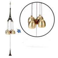 glocken windspiel großhandel-Retro Kupfer Eiffelturm Design Wind Glocke 45 cm Länge Kreative Wind Chime Für Home Wohnzimmer Dekoration Hohe Qualität 6 8 bz Z