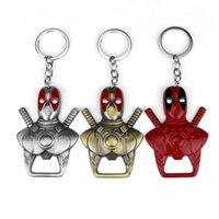 metal anahtarlık tasarımları toptan satış-Yeni Tasarım Deadpool Metal Anahtarlık Bira Şişe Açacağı Üç Renk Ninja erkek Araba Anahtarlık Destek Damla Nakliye