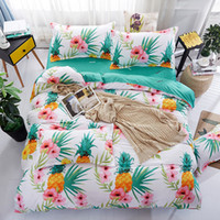 Wholesale full flat sheets - Pineapple Flowers Soft Bedclothes Flat Bed Sheet Bedding Set King Queen Full Twin Size Duvet Cover Bedclothes Linens-pillowcase