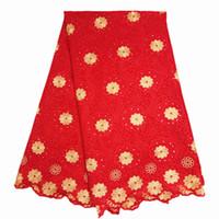 ingrosso merletto rosso voile-tessuto voile svizzero rosso e oro in voile con pietre ricamate in voile, pizzo, cotone, materiali 5Yards / lot