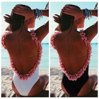Wholesale Women s Cute High Cut Backless One piece Bikini D Flowers Swimsuits Jumpsuit Beach Triangle Monokini Swimwear