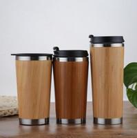 boisson en bambou achat en gros de-Bouteille d'eau en bambou en acier inoxydable Tumbler flacons isolé tasse de café voyage thé Leak-poof tasse à boire DDA779