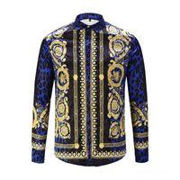 99d90164e Outono e inverno QUENTE Medusa homens impresso vestido de Slim camisa de  algodão dos homens negros impressos camisa de negócios casuais M-XXL