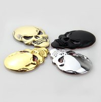 ingrosso decalcomanie di cranio in metallo nero-Distintivo dell'emblema degli autoadesivi della decalcomania del motociclo dell'automobile del cranio nero dell'oro del metallo