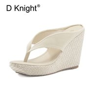 Wholesale orange wedge high heels - Hot Sale Women Platform High Heels Wedge Slippers Big Size 33-43 Open Toe Flip Flops Ladies Casual Open Toe Summer Shoes Sandal