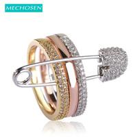 ingrosso accessori pietra rubino-MECHOSEN oro rosa colore tre anelli con perni per le donne 3 colori pavimentato cubic zirconia pietre gioielli punk gotico anelli Y1891205