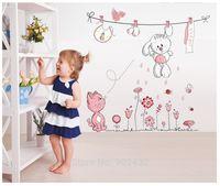 teddybär karikatur rosa groihandel-Großhandel Rosa Cartoon Katze Kaninchen Blume Wandaufkleber Für Baby Mädchen Kinderzimmer Wohnkultur Teddybär Regenschirm Klassenzimmer Wandtattoos