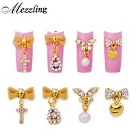Wholesale 3d bows alloy nail for sale - Group buy 10pcs Gold Alloy Glitter Rhinestone Nail Art Decoration Butterfly Bow with Pearl Pendant d Nail Jewelry DIY Charm Tool