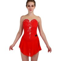 patinaje artístico femenino al por mayor-Vestido de Patinaje Artístico Sin Mangas Elasticidad Rojo Mujeres Niñas Profesional Crystal Custom Ice Skating Performance Clothes ZH8022