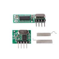 kit mcu al por mayor-1 Set 433Mhz RF Superheterodyne receptor transmisor módulo Kit con antena para Arduino / ARM / MCU
