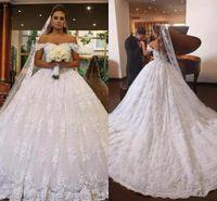 Wholesale Vestidos Novia Short - 2018 Modest Lace Wedding Dresses Pricness Ball Gown Lace Off Shoulder Applique Backless Wedding Bridal Gowns Vestidos De Novia MN