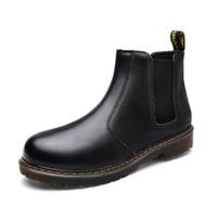 botas de cuero gris al por mayor-2018 Otoño Invierno Negro Gris Dr Hombres PU Botas sin cordones de cuero Punta Redonda Oxford Botines Botas de moto Zapatos Hombres más