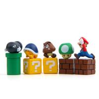 ingrosso capretto di funghi di mario-10pcs Set Super Mario Bros Figura Mario Bullet Mushroom Tortoise Wall Well Action PVC Figure Model Toy Giocattoli per bambini 1 4rz UU