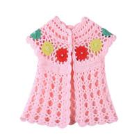 Wholesale baby sleeveless vest crochet for sale - Baby Girls Knitted Vest Handmade Crochet Knitted Vest Girl Sleeveless Flower Pearl Cardigan Vests Waistcoat Clothes