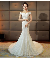 Wholesale Ribbon Palace - Wedding 2017 new bride palace word shoulder waist fish tail was thin small tail forest Evening Slim autumn