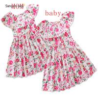 Wholesale usa models - Samgami baby models Eur and the USA summer burst female mother dress ins children's clothing floral skirt parent-child clothing
