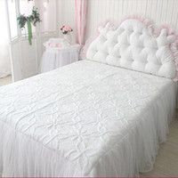 Wholesale white wedding bedspreads resale online - luxury white bed skirt quilt bedspread wedding decoration bed textile elegant princess bedding European style sheet skirts
