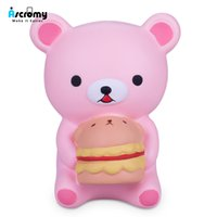 tier brot brötchen matschig großhandel-Ascromy Kawaii Jumbo Tier Squishy Cute Bear Hamburger langsam steigende Squeeze Spielzeug Brot Kuchen Brötchen Kind Spielzeug Geschenke