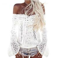 kadın şık giyim toptan satış-Boho Üst Kapalı Omuz Gömlek Kadın Beyaz Dantel Bluz 2018 Hippi Chic Giyim Yaz Plaj Tunik Chemise Femme Blusas Feminina