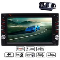 Wholesale universal double din car dvd resale online - 6 quot Double DIN Dash Bluetooth Car Stereo Mp3 Audio Video car DVD CD Player FM AM RDS Radio AUX in Subwoofer Steering Wheel Camera