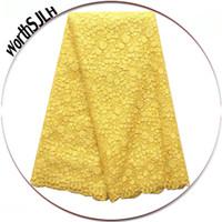 tecido africano de ouro amarelo venda por atacado-Tecido Lace Africano 2.019 tecido de alta qualidade para Laces Partes africanos White Gold Yellow Lace New Tulle Francês Lace Tecidos