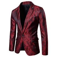 ingrosso blazer for dress-Giacca da cerimonia uomo rossa floreale Giacca da lavoro Giacca sportiva slim fit a un bottone per uomo festa DJ Stage Costume Blazers