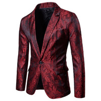 Wholesale wedding costume male online - Men Red Floral Wedding Dress Blazer Jacket Business Slim Fit One Button Stage Jacket for Male Party DJ Stage Costume Blazers