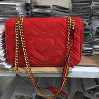 Wholesale Red Heart Gifts - Free shiopping 2018 New gift Fashion black chain makeup bag famous luxury party bag Marmont velvet shoulder bag Womendesigner bags