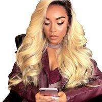 brazilian bakire saç peruk 1b toptan satış-Ombre 1B 613 Gevşek Dalga Tam Dantel Peruk Öncesi ile peruk Siyah% 100% Brezilyalı Virgin İnsan Saç Peruk