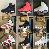 Wholesale Boots Ring - 2018 Men 6 6s Basketball Shoes UNC Six Rings black white Gatorade Wheat Black cat Infrared Carmine high quality sports sneakers eur 40-47