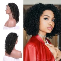 Wholesale virgin kinky curly ombre wig for sale - 130 Density Full Lace Wigs Afro Kinky Curly Virgin Human Hair Cheap inch For Black Women G EASY