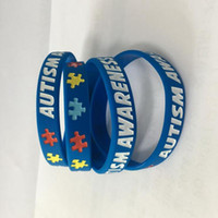 Wholesale Ink Fill - Autism Awareness silicone wristband rubber bracelets Ink Filled Silicone Wristbands Bracelets for Gifts kids adult Jewelry