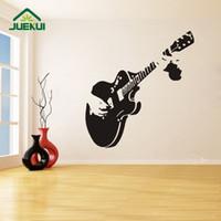 гитарная спальня оптовых-Guitar Pattern Vintage Style Wall Stickers Removable Design for Living Room Home Art Decor  Decals Bedroom K523