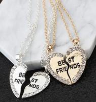 pendentifs de navire ami achat en gros de-livraison gratuite Deux pendentifs sertis d'un diamant collier meilleur amis collier pour la Saint Valentin cadeau accessoires chic et sophistiqué