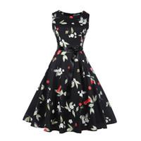 vestidos de moda bohemia al por mayor-Novedad 3D vestido de princesa de cereza niñas de moda vestido de Bohemia chic mujeres vestido de verano del o-cuello sin mangas negro vestidos envío gratis