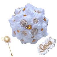 blumenstrauß boutonniere großhandel-Kristallsimulations-Rose, die Blumen hält, die Hochzeits-Zubehör-Brautjunfer-Silk Boutonniere-Handgelenkblume Brautblumensträuße gesetztes T0168