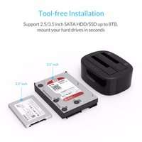 sdd sata sürücüsü toptan satış-ORICO USB 3.0 - SATA Çift Bölmeli Sabit Sürücü Bağlantı İstasyonu, Çevrimdışı Klonlama Fonksiyonlu 2.5 / 3.5 inç HDD / SSD için [UASP Protokolü]