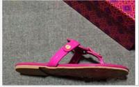 Wholesale famous flip flops - Mei red Genuine Leather Brand New Women Thong Sandals Summer Women Beach Sandals Famous Flip Fllops