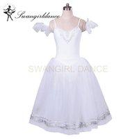 erwachsene schwan kostüm großhandel-Frauen White Swan See Professional romantische Ballett Tutu langen Rock Erwachsene Giselle klassischen Ballett Tutu Nussknacker Kostüme BT8954D