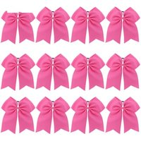 Wholesale pink cheerleading bows for sale - Group buy 8pcs Inch Hair Bows Boutique Elastic Ties Cheerleading Cheer Bow Grosgrain Ribbon Bow Hair Accessories