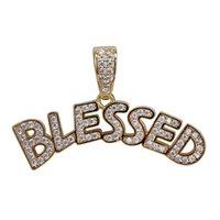 colares abençoados venda por atacado-Homens Iced Out BLESSED Letras Pingente de Colar de Ouro de Prata Micro Pave Cubic Zircon Jóias Hip Hop