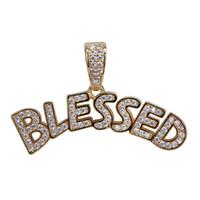 gesegnete halskette silber großhandel-Männer Iced Out gesegneten Buchstaben Anhänger Halskette Gold Silber Micro Pave Kubikzircon Hip Hop Schmuck
