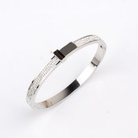 Wholesale fashion brand bracelet for sale - Fashion Popular European and American Jewelry Brand Designer Stainless Steel Tone Bangle Pave Shiny Crystal Bracelet