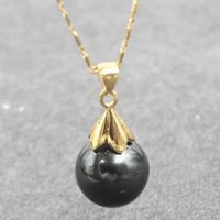 Wholesale Abalone Mother Pearl Pendant - Wedding engagement anniversary clothes accessories Lustrous 12 MM blackd sea shell pearl pendant necklace with chain 18inch 45cm long