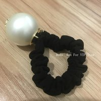 Wholesale for good hair online - Super good quality Luxury Hair Accessories big pearl with marks hair rope fashion Vip hair tie with bag and stamp party gift for souvenir