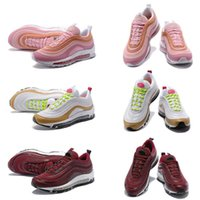 Wholesale lace girl top - 2018 97 Bullet Running Shoes Girls Womens Fashion Designer Trails Sport Sneakers Pink Casual Outdoor Trainers Top Quality with Box