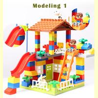 juguetes de la casa grande al por mayor-89 Unids Big Particle Colorful City House Techo Bloques de Construcción Castle Legoings Compatible Duploe City Juguetes Educativos para Niños