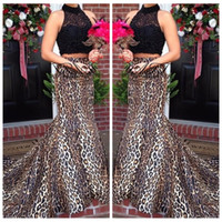 Wholesale leopard print prom - 2018 Two Piece Black Lace Top Sexy Leopard Print Custom Prom Dresses High Neck Formal Sweep Train Mermaid Evening Dress Party Gowns